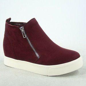 Wedge Ankle Boot Sneakers Maroon Vino